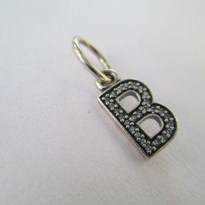 Pandora letter B sterling silver cz